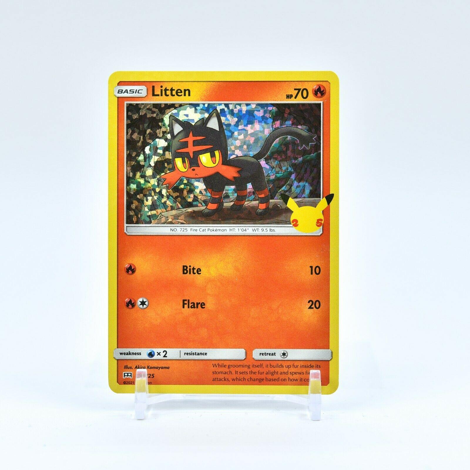 Litten - 15/25 Mcdonald's 25th Anniversary Holo Starter Pokemon - NM/MINT