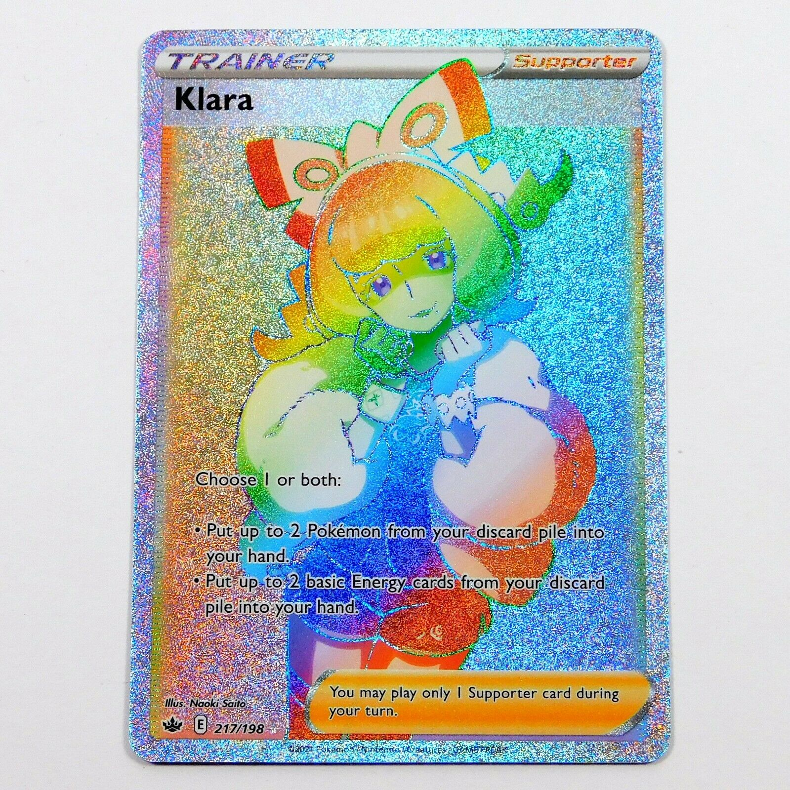 Klara 217/198 Secret Rainbow Rare Chilling Reign Pokemon Card NM/M