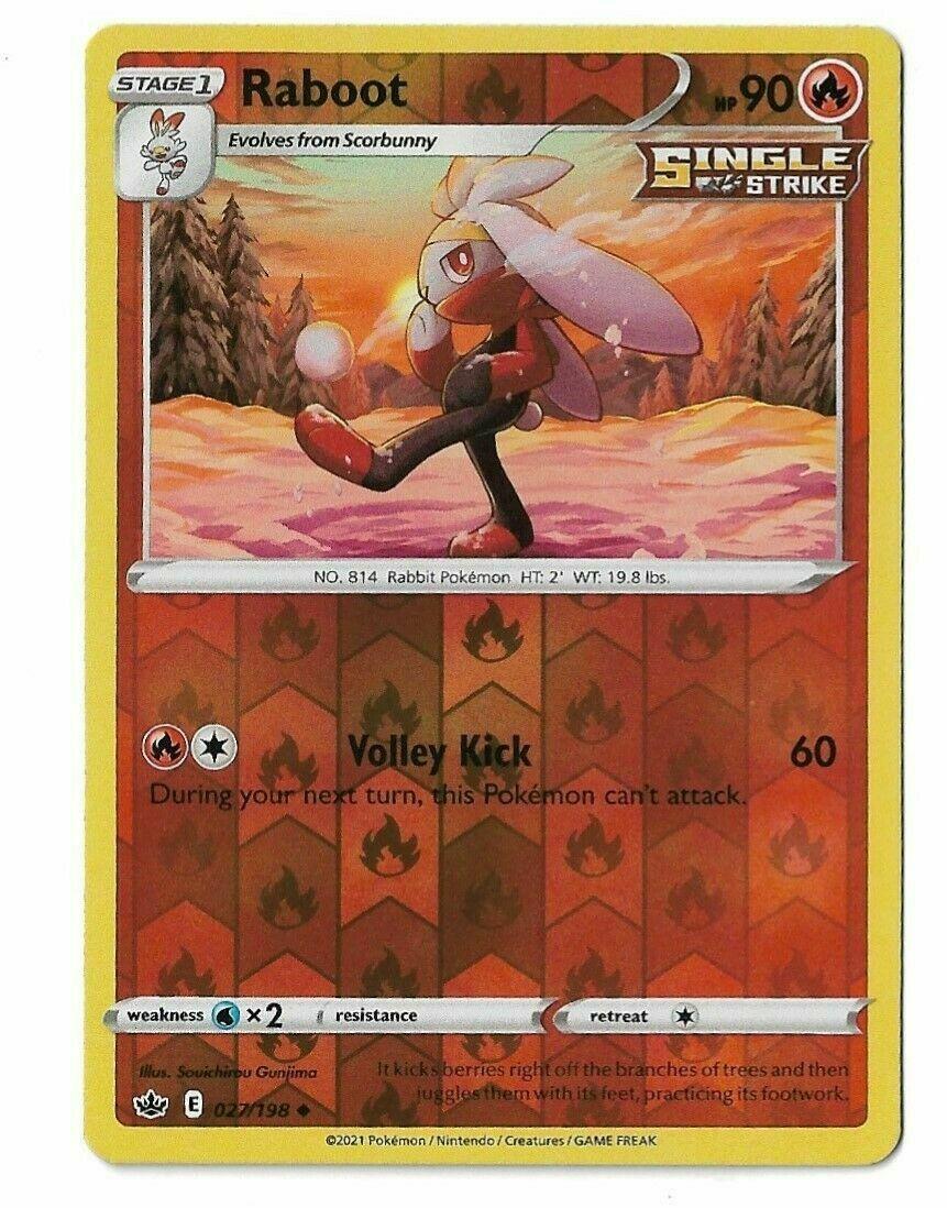 Pokemon - Raboot 027/198 - Reverse Holo Rare - Chilling Reign - NM/M