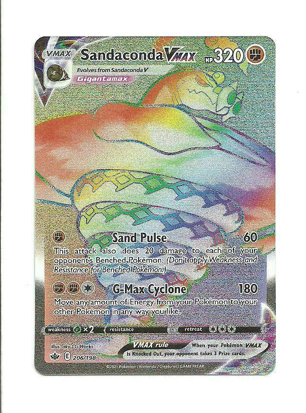 POKEMON CHILLING REIGN Sandaconda Vmax Secret Rare 206/198