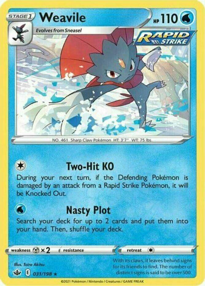 x1 Weavile - 031/198 - Holo Rare - Reverse Holo Pokemon SS06 Chilling Reign M/NM
