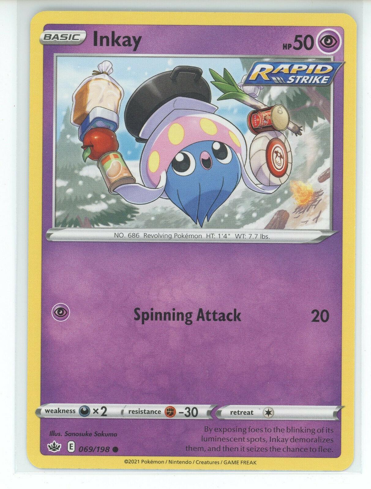 Pokemon 2021 S&S Chilling Reign Inkay 069/198 Rapid Strike Common