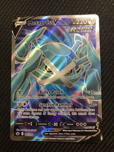 Metagross V 181/198 Pokémon TCG Chilling Reign Full Art Ultra Rare Near Mint