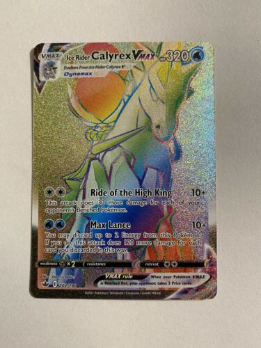 Ice Rider Calyrex Vmax Rainbow Rare- 202/198 - Chilling Reign -Pokemon Card