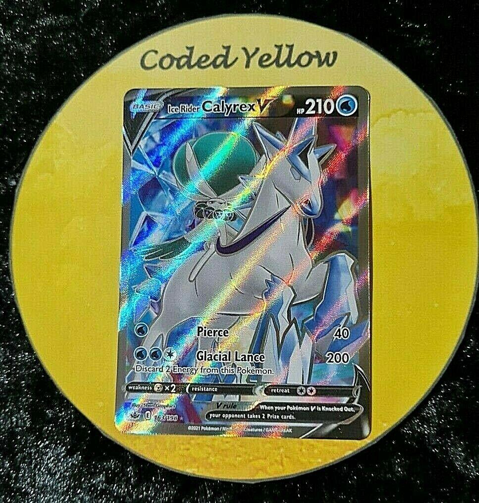 163/198 Ice Rider Calyrex V | Pokémon Chilling Reign SWSH | FULL ART Card | N/M
