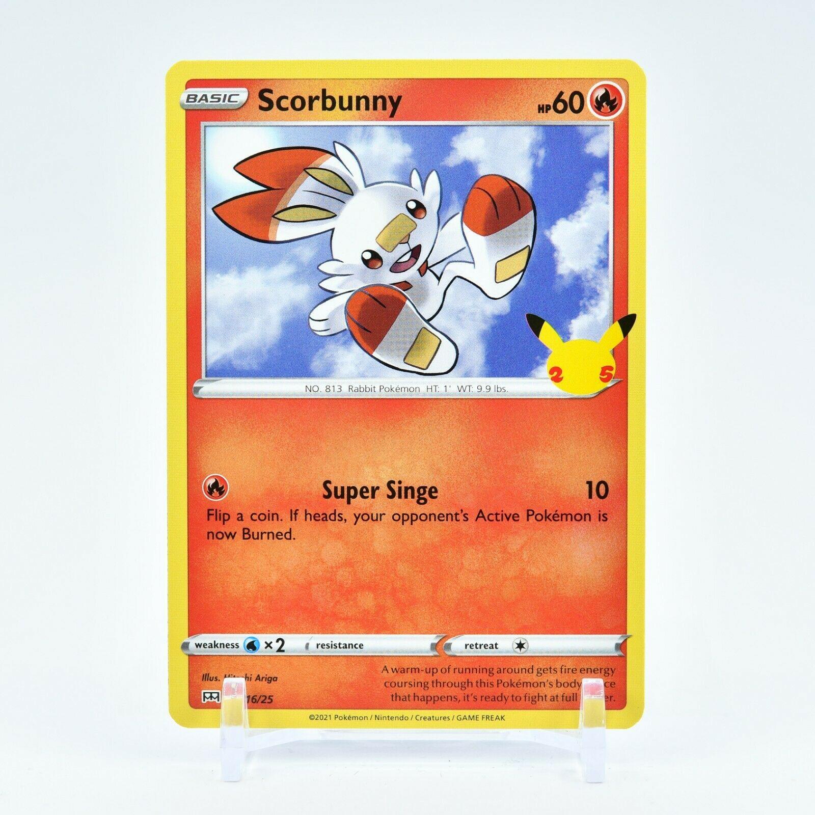 Scorbunny - 16/25 Mcdonald's Promo 25th Anniversary Starter Pokemon - NM/MINT