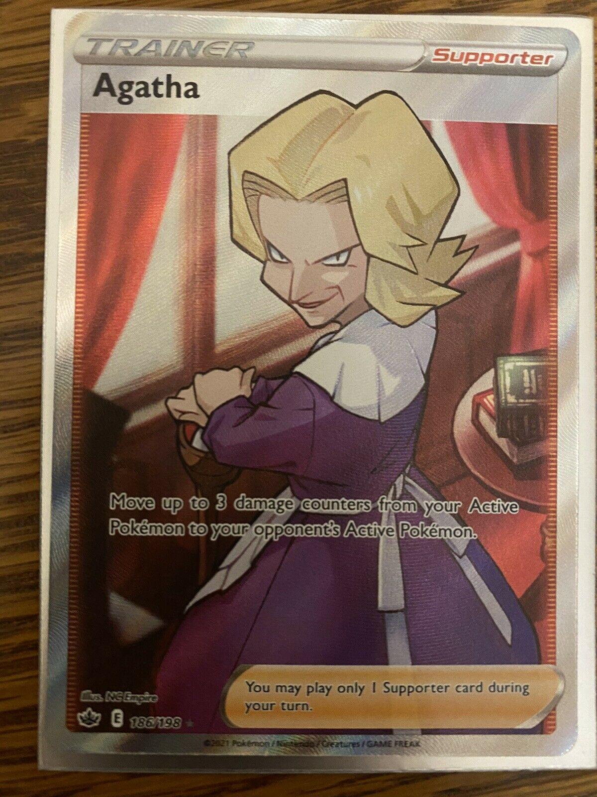Agatha 186/198 Full Art Trainer NM/M Chilling Reign Pokemon Card