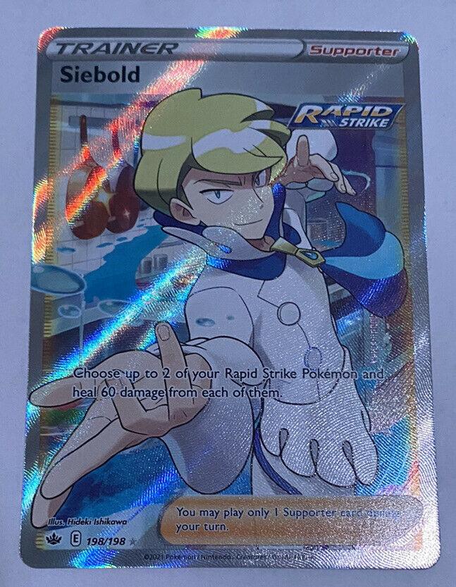 Siebold 198/198 Sword & shield: Chilling Reign Full Art Trainer Holo NM/M