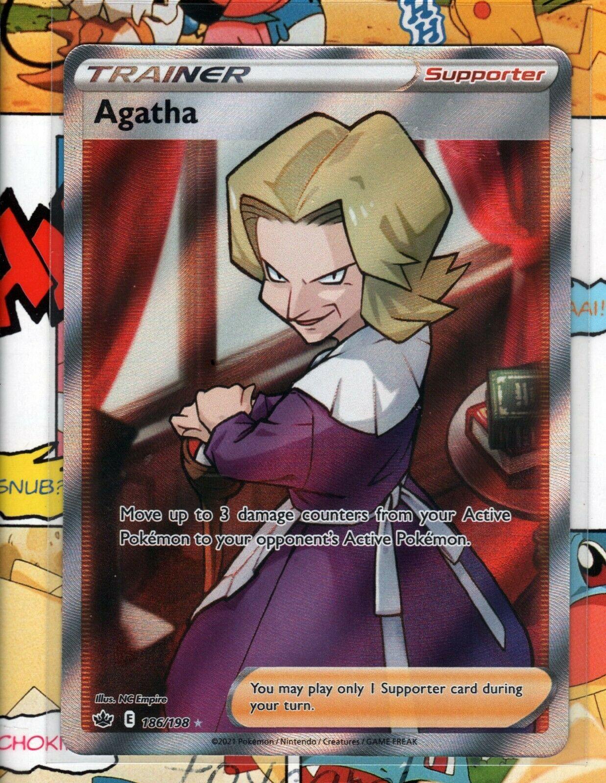 Pokemon TCG Agatha 186/198 Chilling Reign Full Art Trainer NM/M