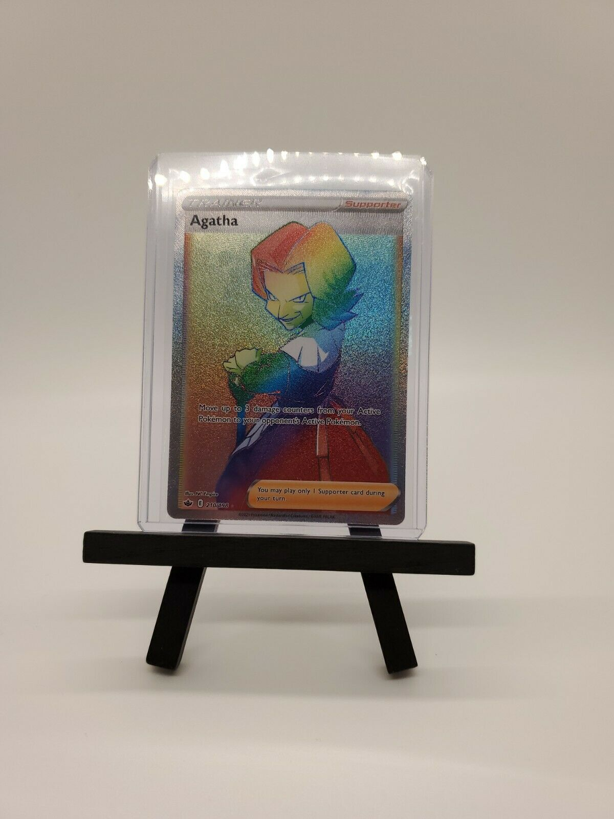 Pokemon Agatha 210/198 Rainbow Full Art Secret Rare Chilling Reign Card Mint