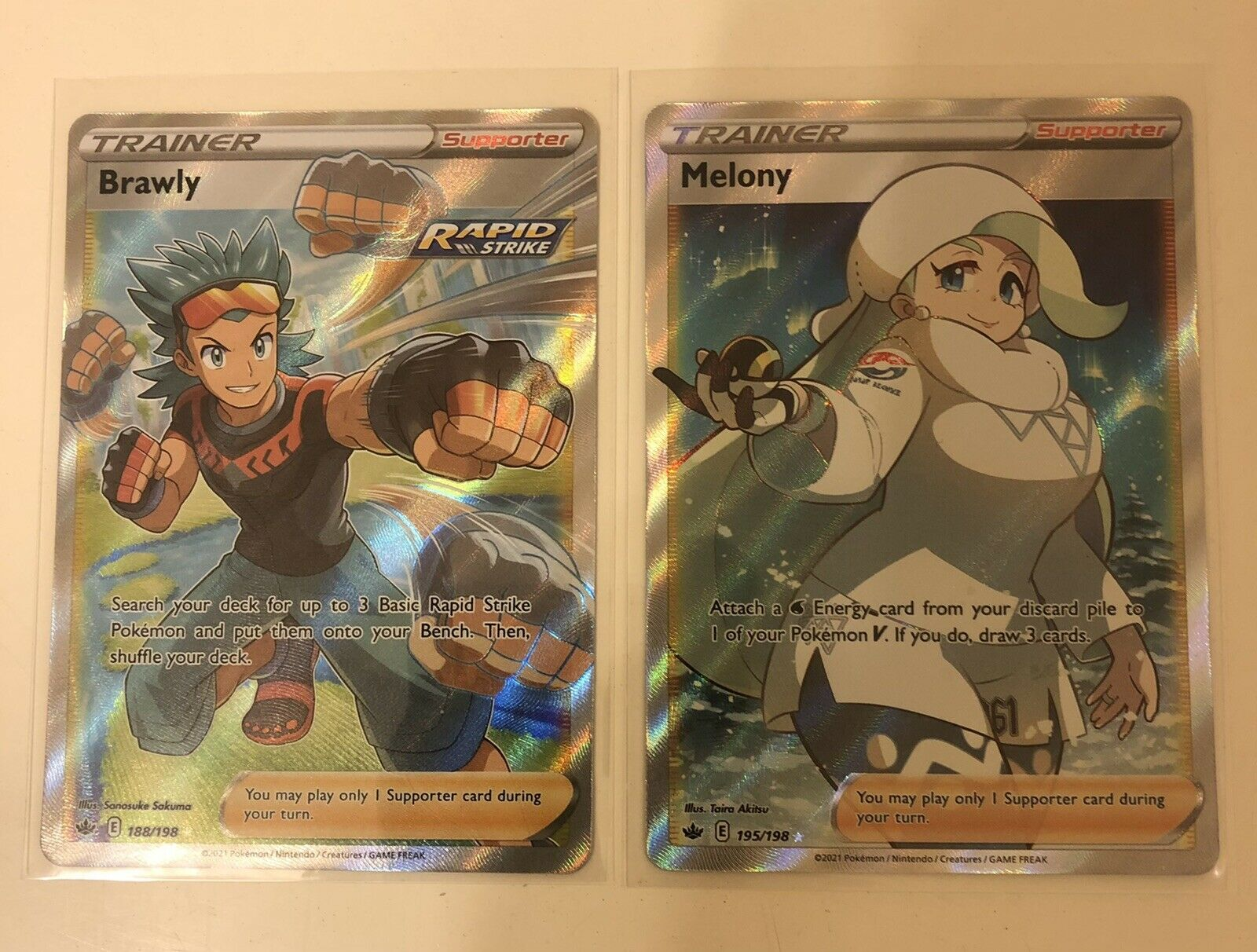 Pokémon Chilling Reign Full Art Trainer Melony (195/198) & Brawly (188/198) MINT
