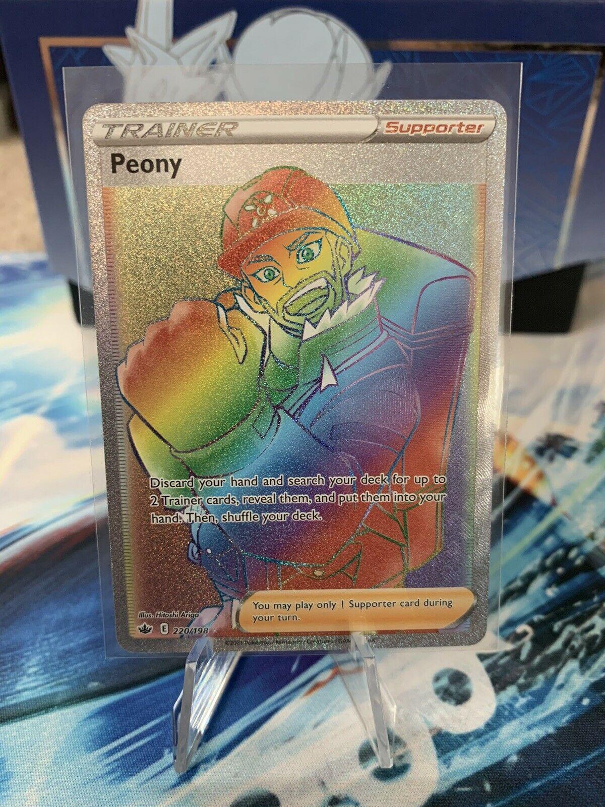Pokemon Chilling Reign Peony Full Art Trainer Secret Rare Rainbow 220/198 card