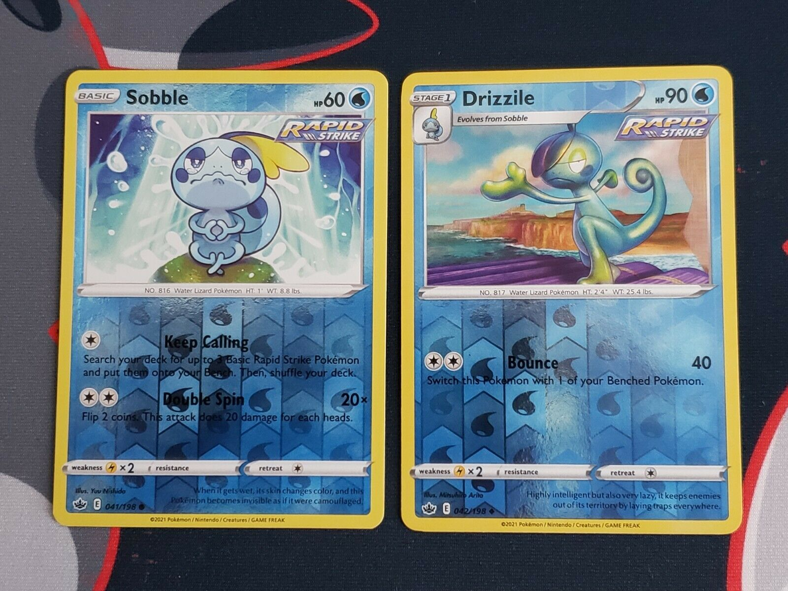 Pokemon Chilling Reign 041/198 Sobble and 042/198 Drizzile Reverse Holo NM
