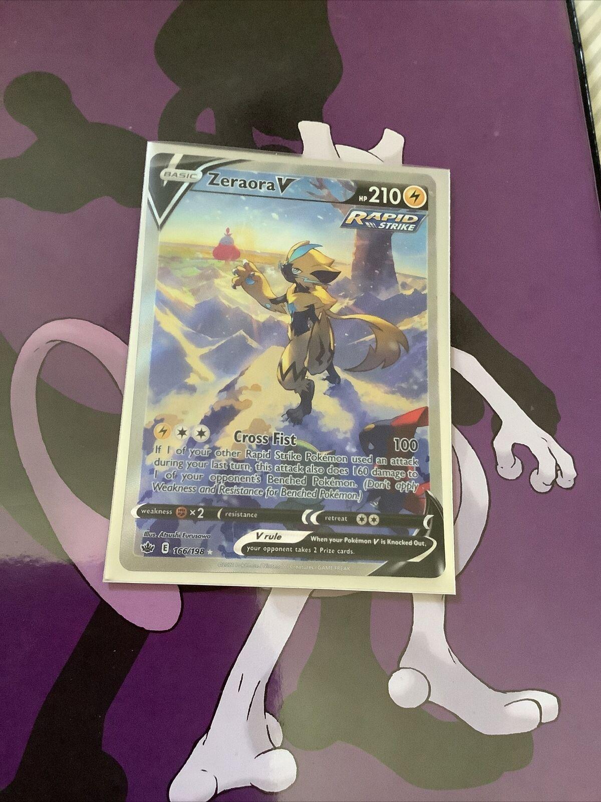 Zeraora V Alternate Alt Full Art Pokémon Chilling Reign Pokemon 166/198 Rare