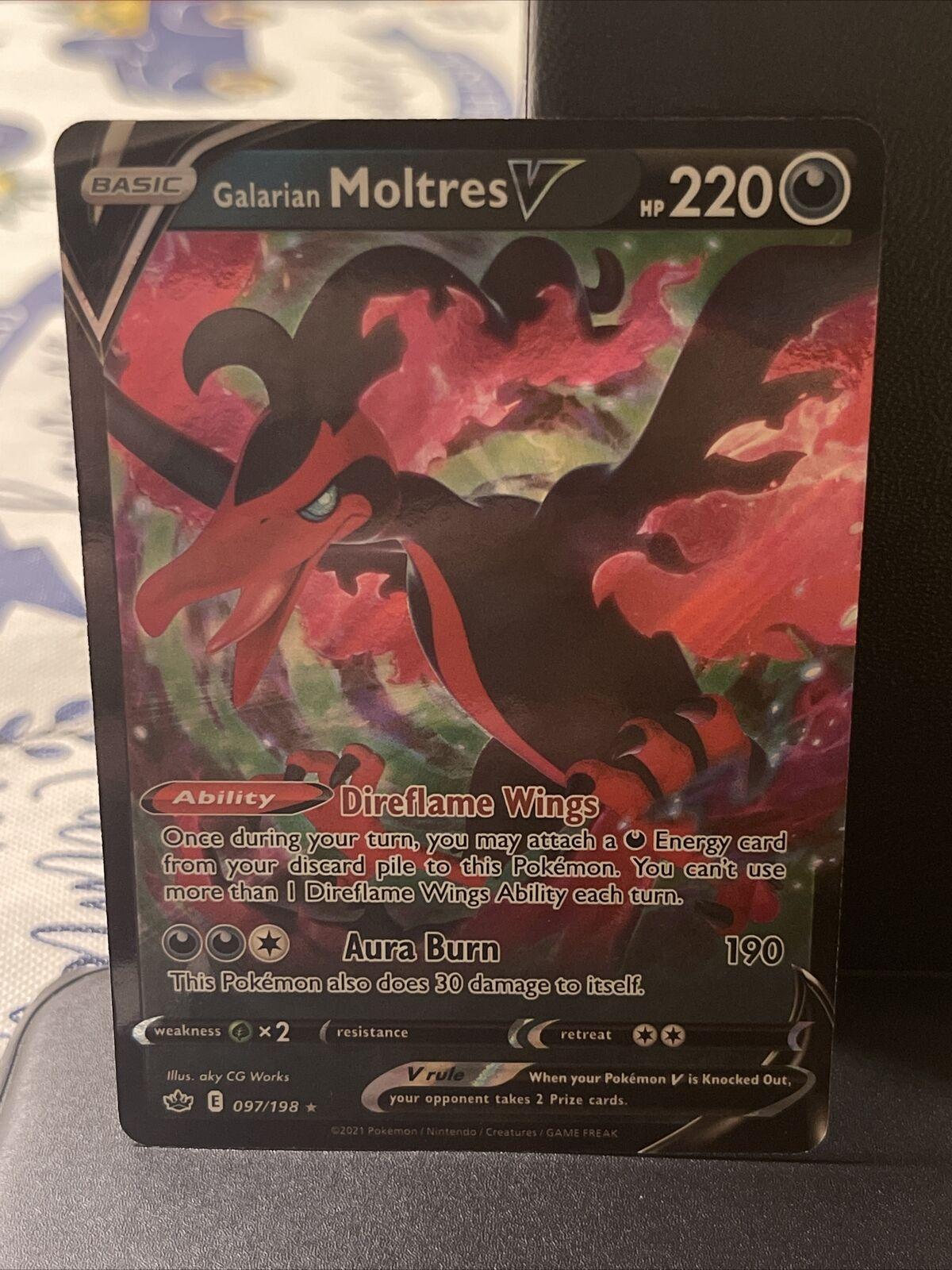 POKEMON TCG CARD Galarian Moltres V 097/198 Chilling Reign 2021 Rare NM