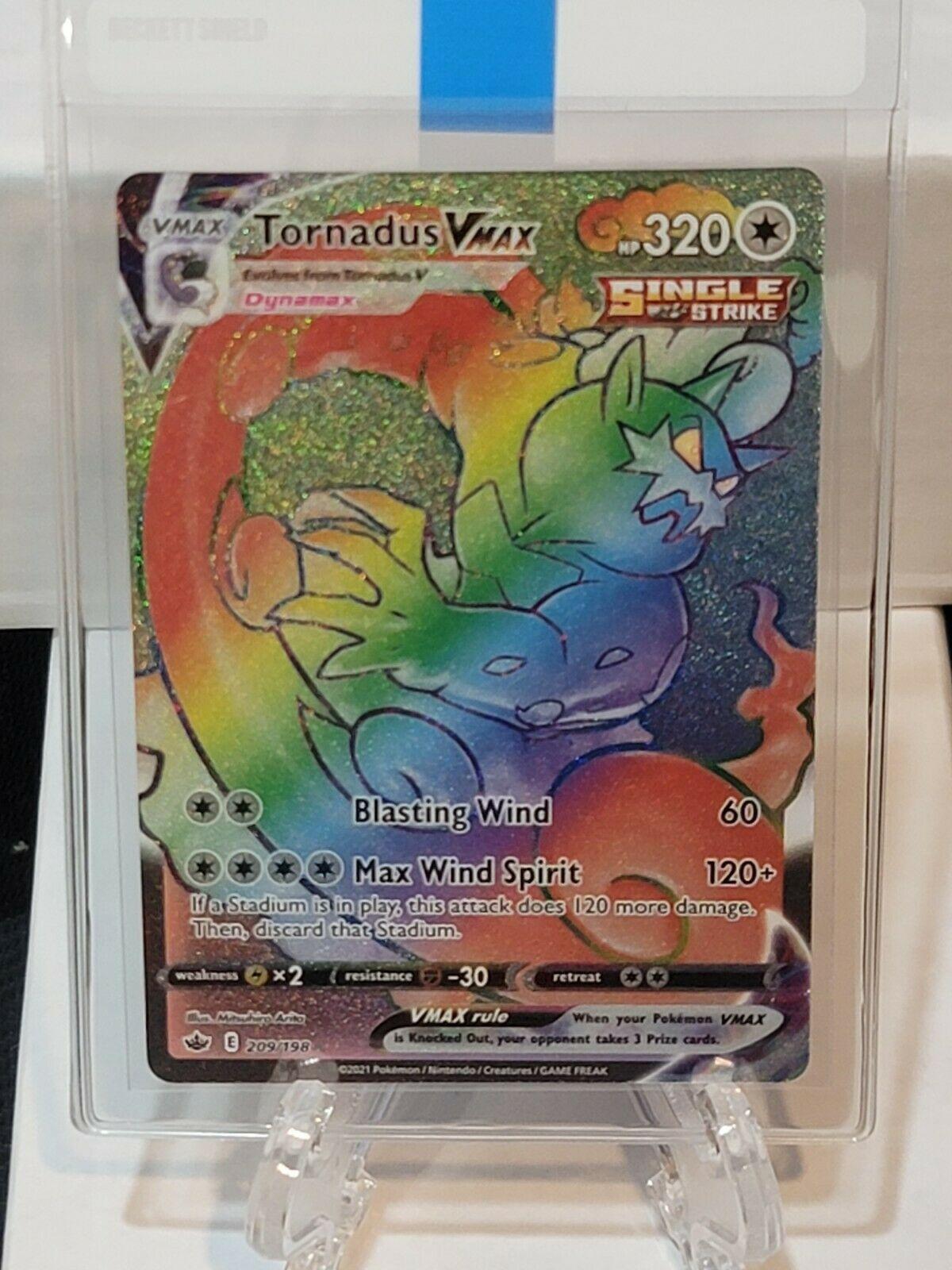 TORNADUS VMAX 209/198-CHILLING REIGN POKEMON CARD RAINBOW SECRET RARE- MINT