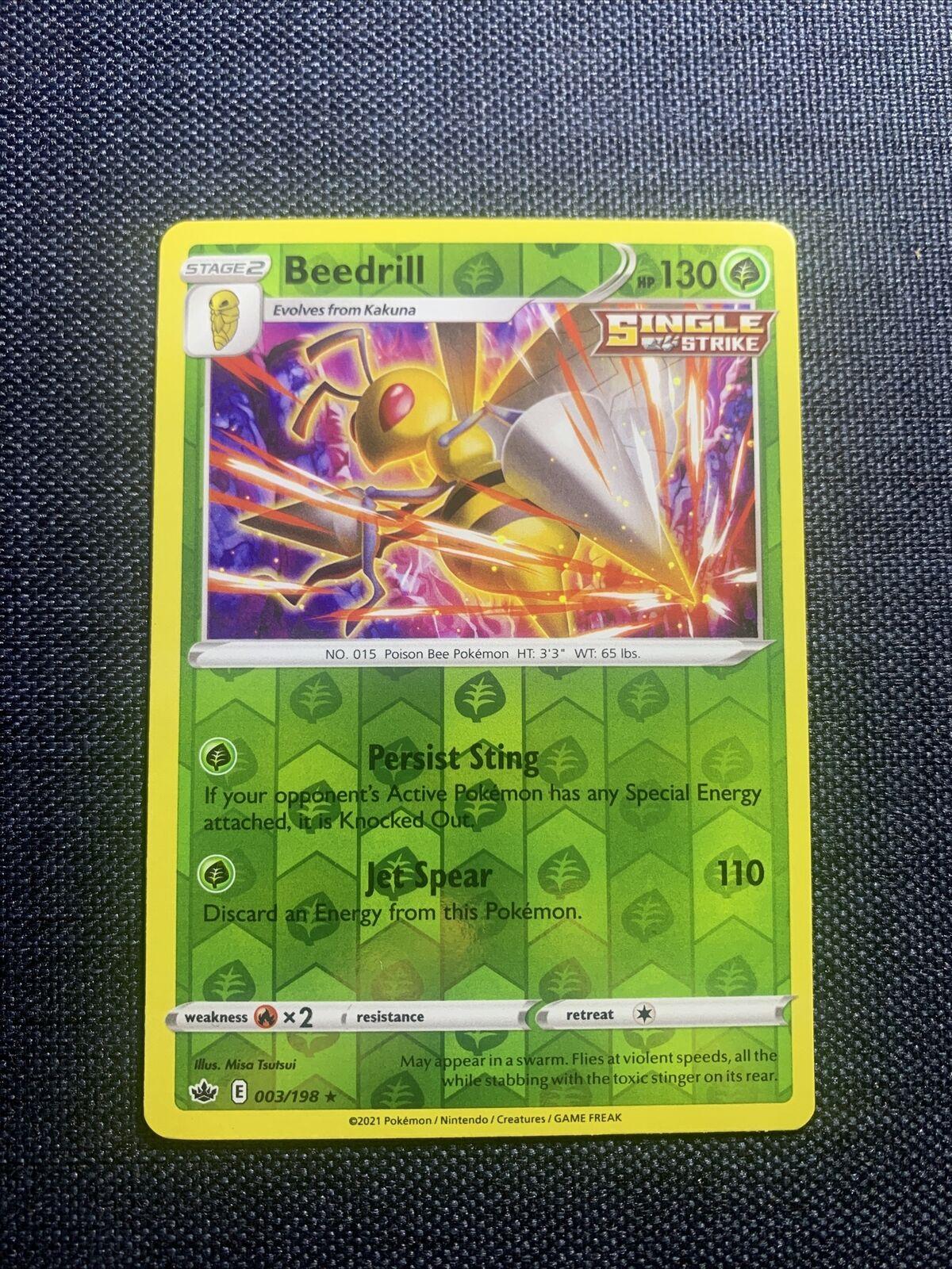 Pokemon Beedrill 003/198 Chilling Reign - Rev Holo - NM