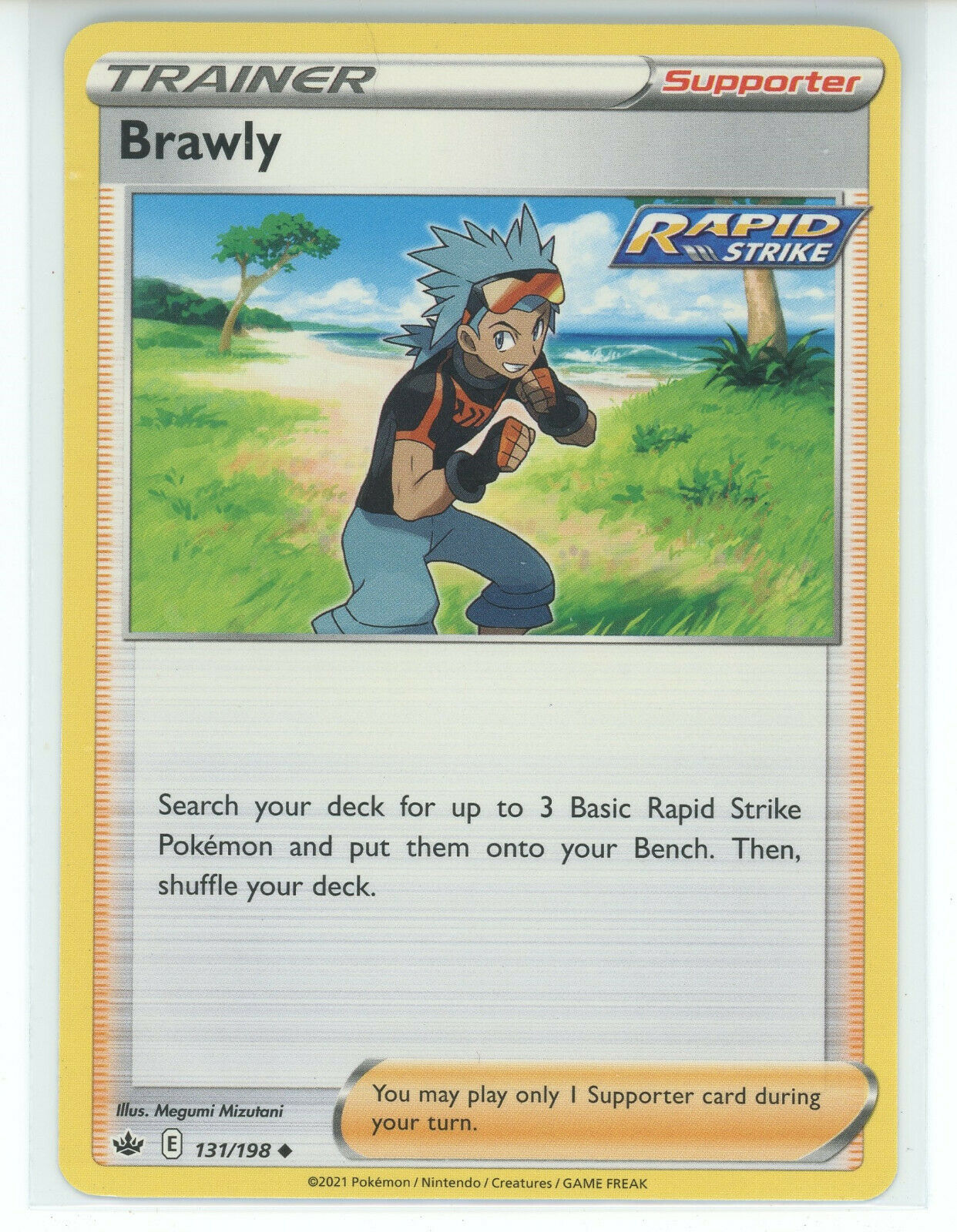 Pokemon 2021 S&S Chilling Reign Trainer Brawly 131/198 Rapid Strike Uncommon