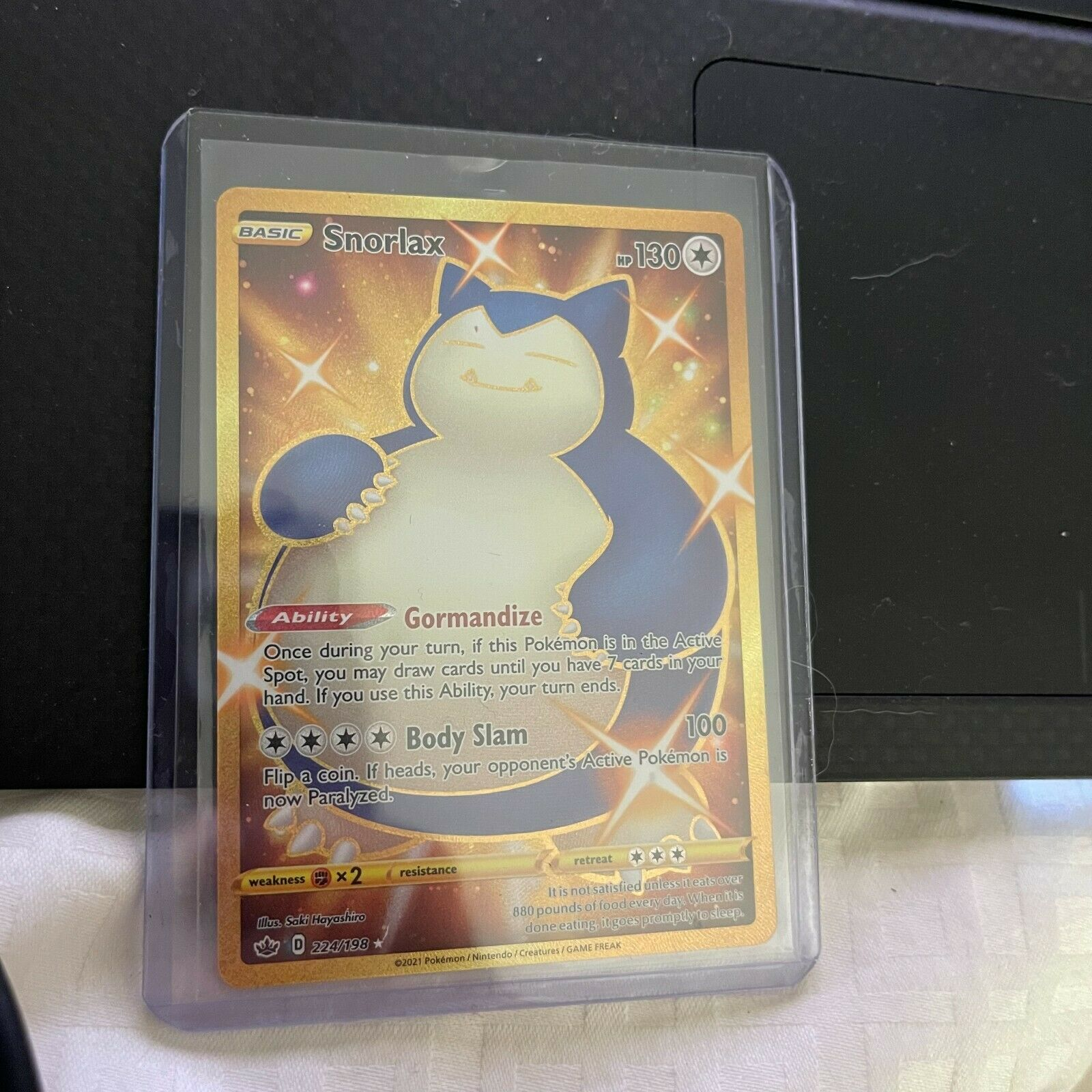Snorlax 224/198 Chilling Reign Gold Secret Rare Pokemon Card