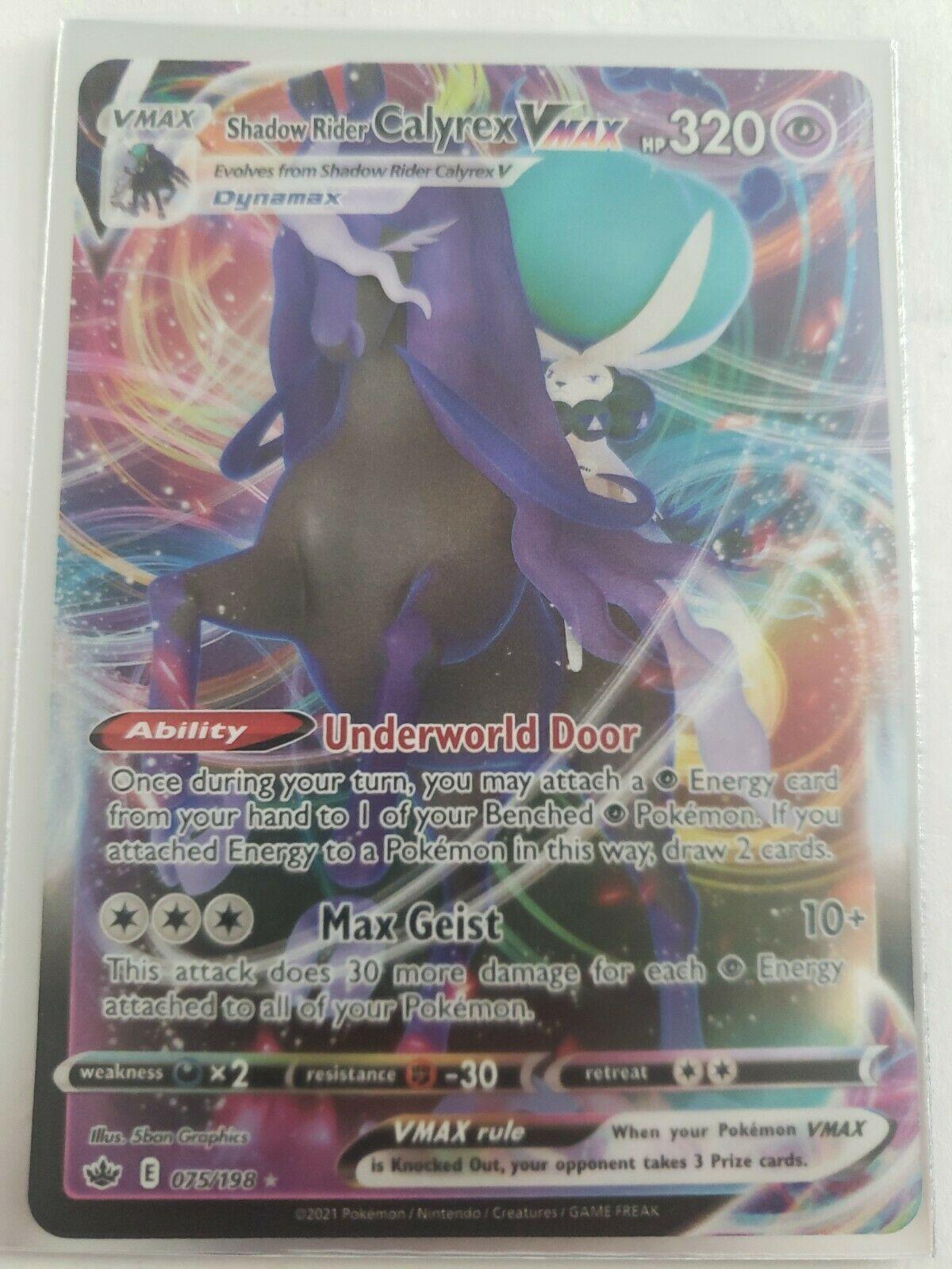 Pokémon Shadow Rider Calyrex Vmax Ultra Rare Chilling Reign 075/198 NM/MINT
