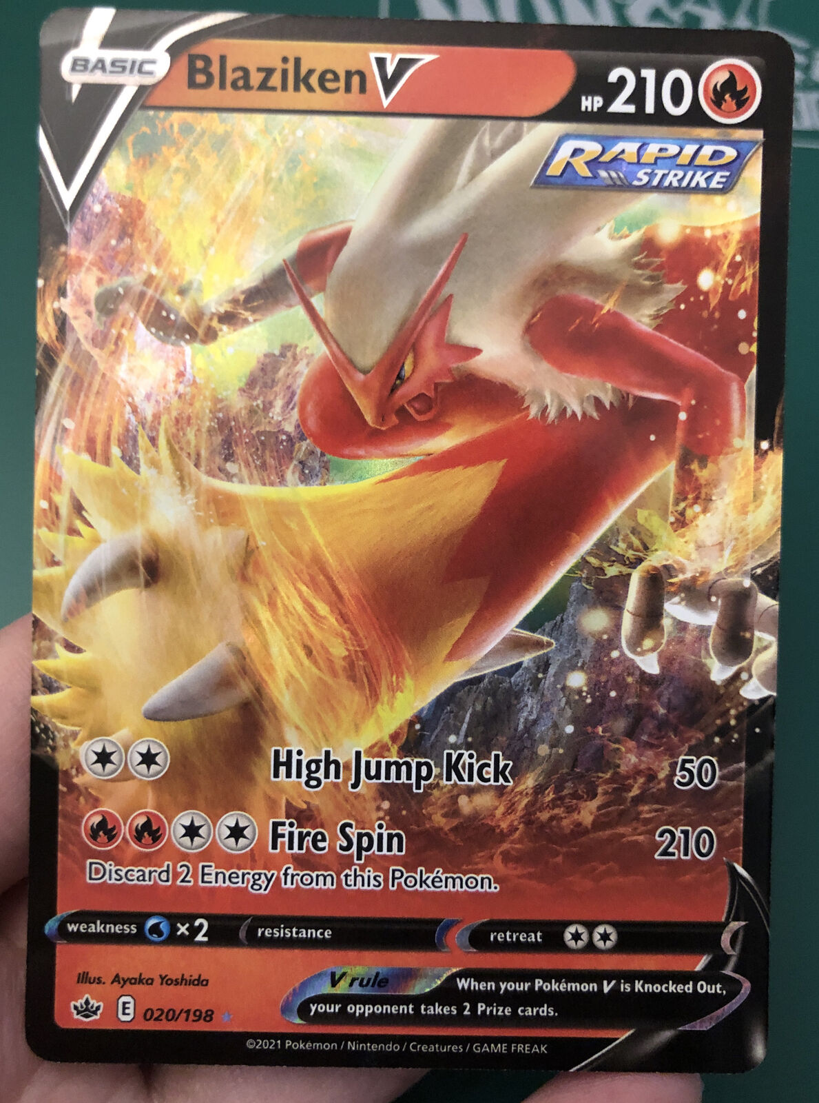 Blaziken V 020/198 Ultra Rare Pokemon Chilling Reign NM/M