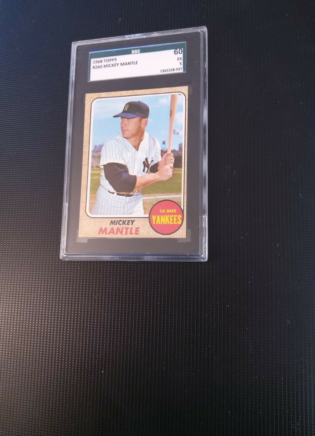 1968 TOPPS BASEBALL #280 MICKEY MANTLE SGC 5 EXCELLENT (60), Nice Corners - Image 2