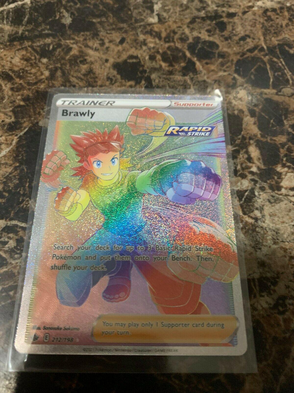 Brawly 212/198 Full Art Rainbow Secret Pokemon Chilling Reign TCG Supporter MINT