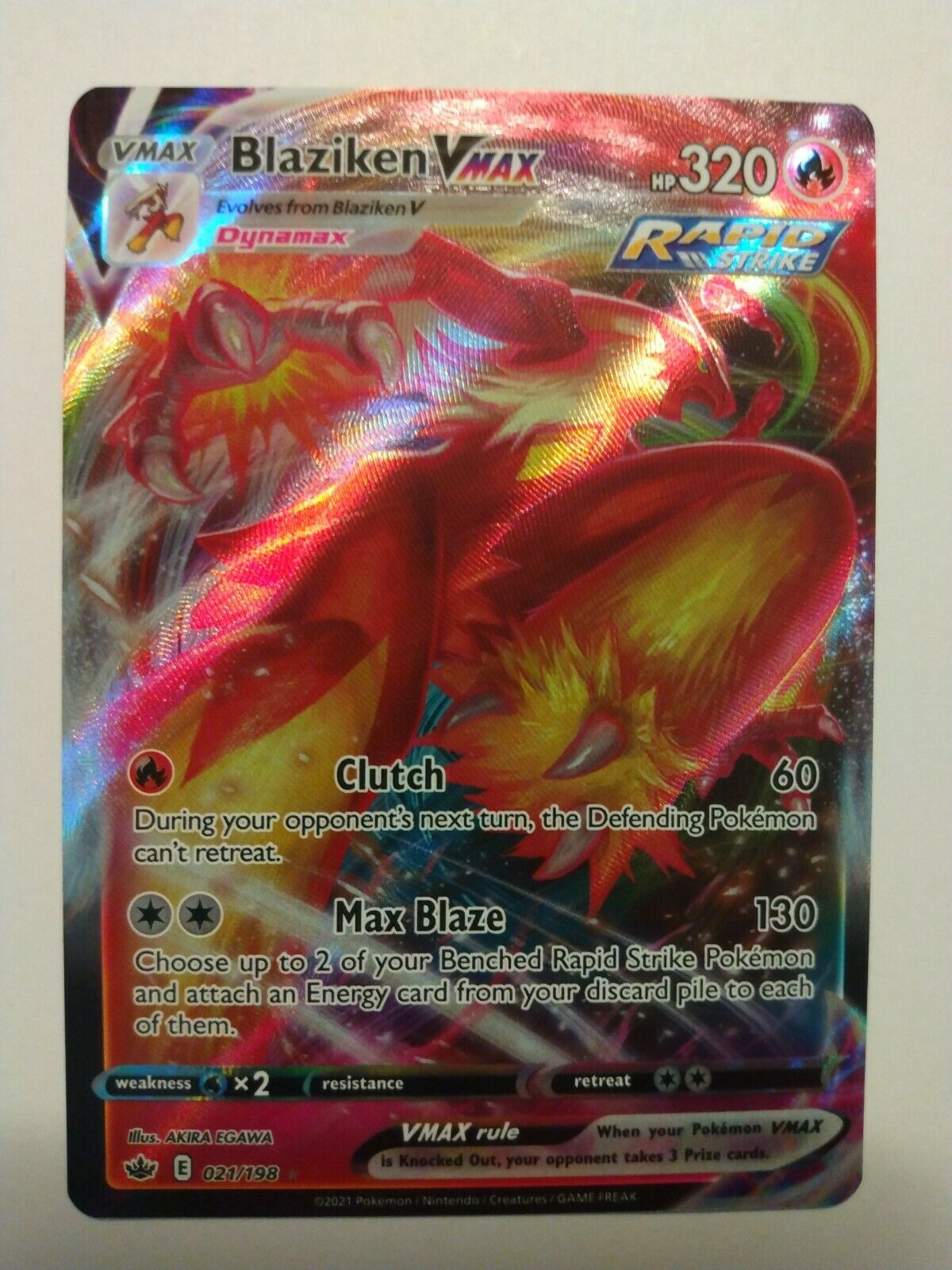 Pokemon - Blaziken Vmax - 021/198 - Full Art - Chilling Reign - NM/M - New - Image 1