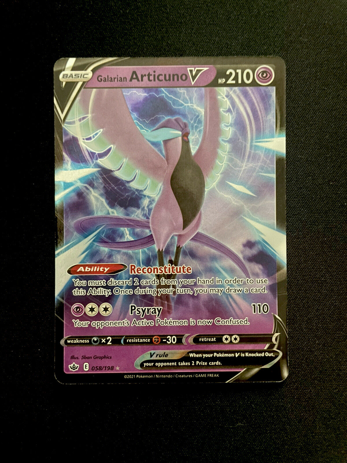 Galarian Articuno V 058/198 Pokémon TCG Chilling Reign Ultra Rare Near Mint