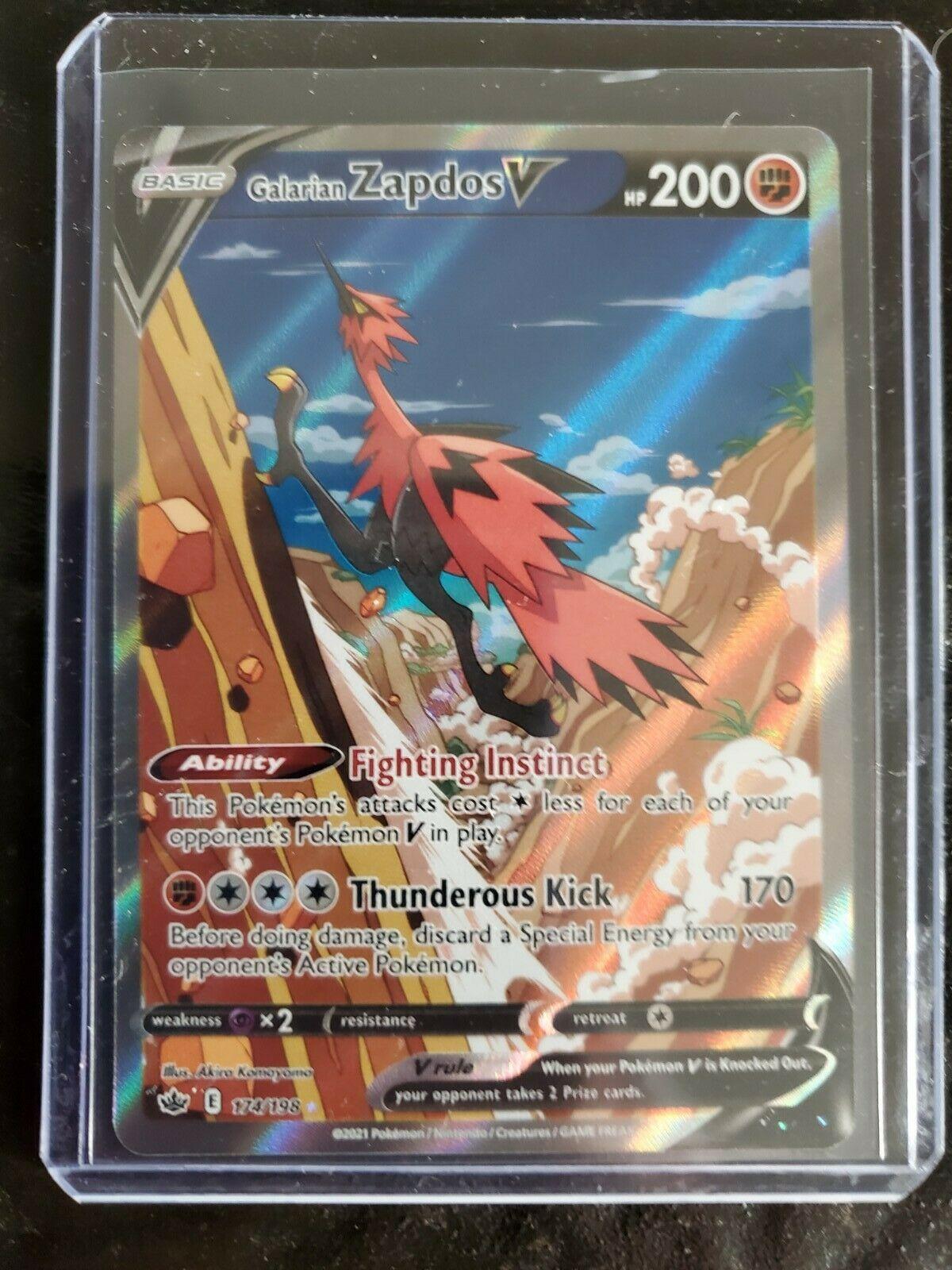 Pokemon Galarian Zapdos V 174/198- Alternate Full Art Chilling Reign Card #1