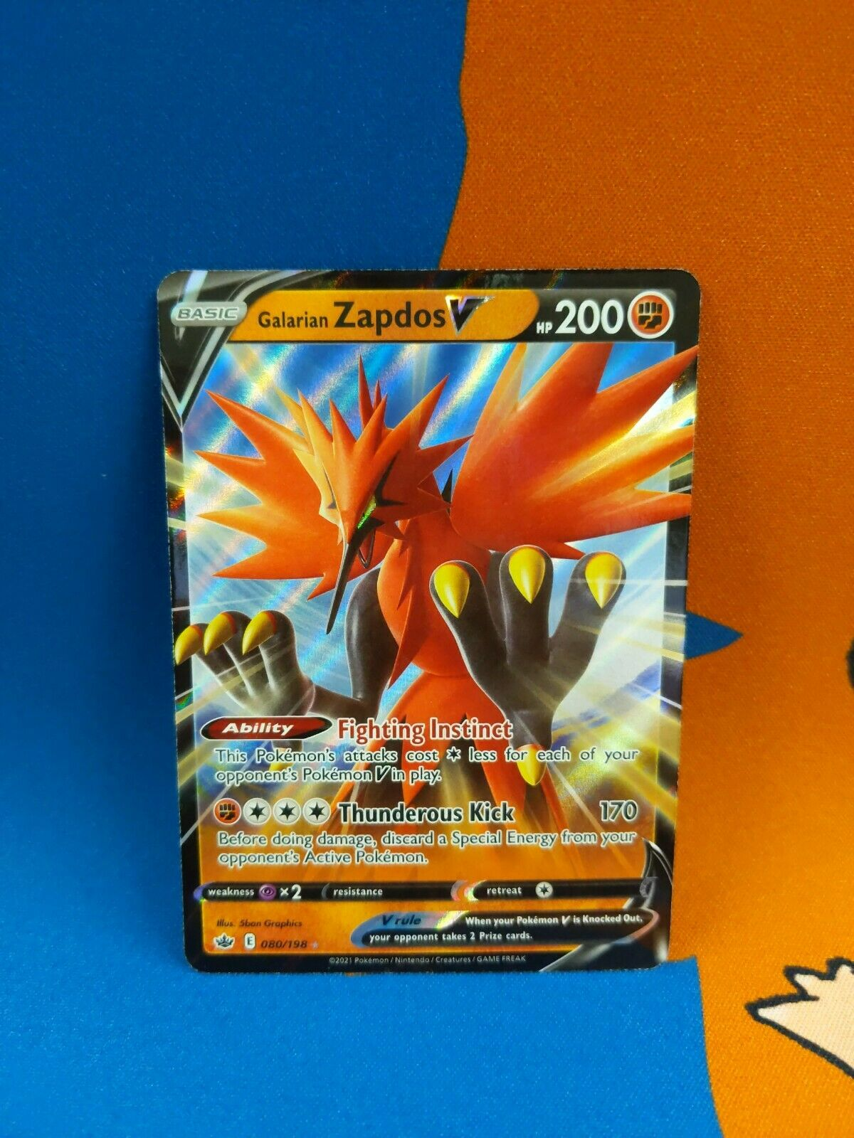 🤜Galarian Zapdos V 080/198 Chilling Reign NM-M🤛