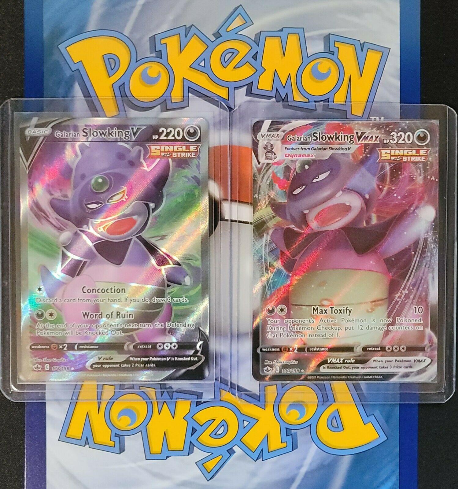 Pokemon- Galarian Slowking V Full Art 178/198 & VMAX 100/198- Chilling Reign- NM