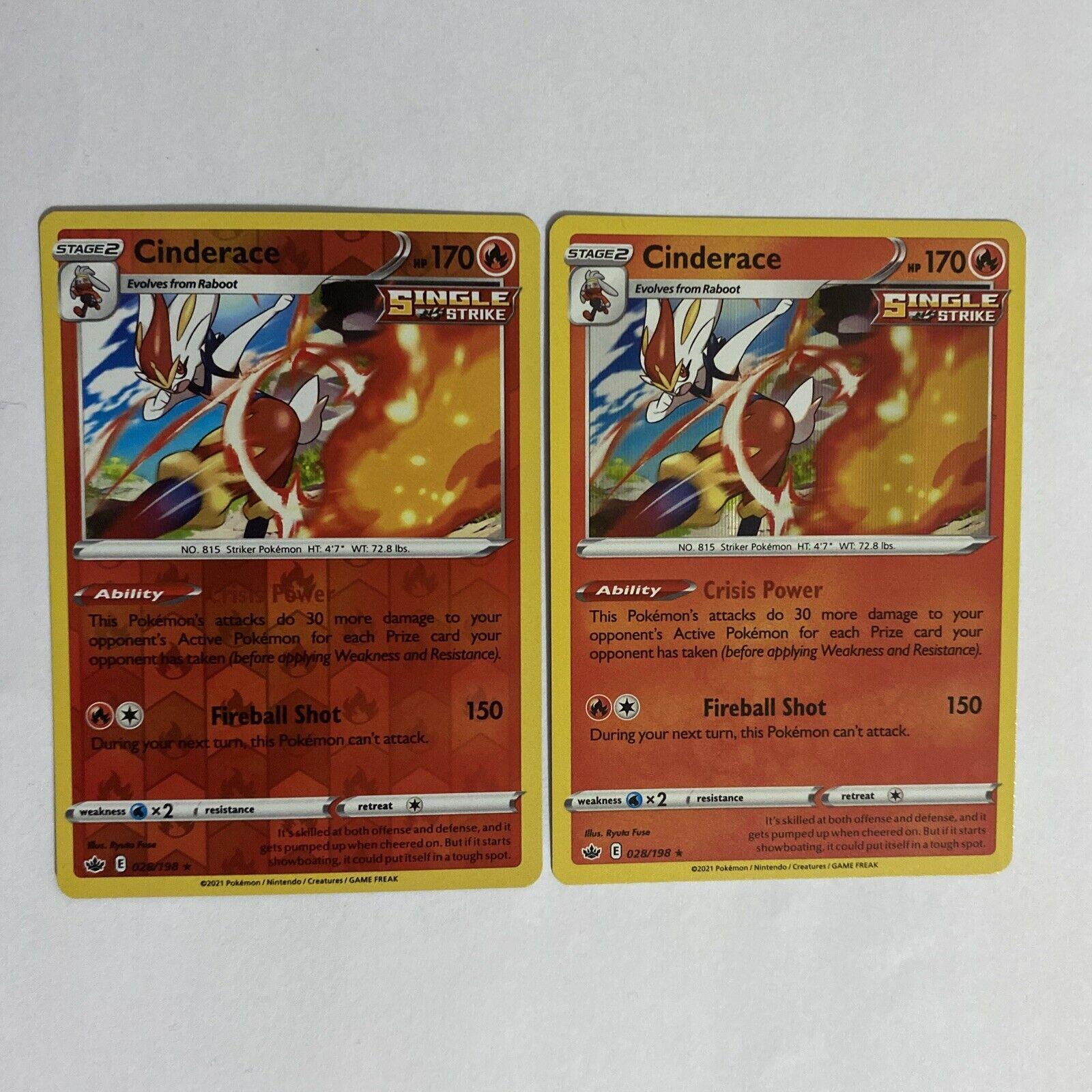Pokemon - Cinderace - 028/198- Reverse Holo + Holo Rare - Chilling Reign - NM/M
