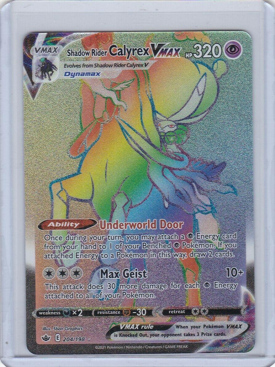 POKEMON Shadow Rider CALYREX VMAX #204/198 Chilling Reign RAINBOW SECRET RARE NM