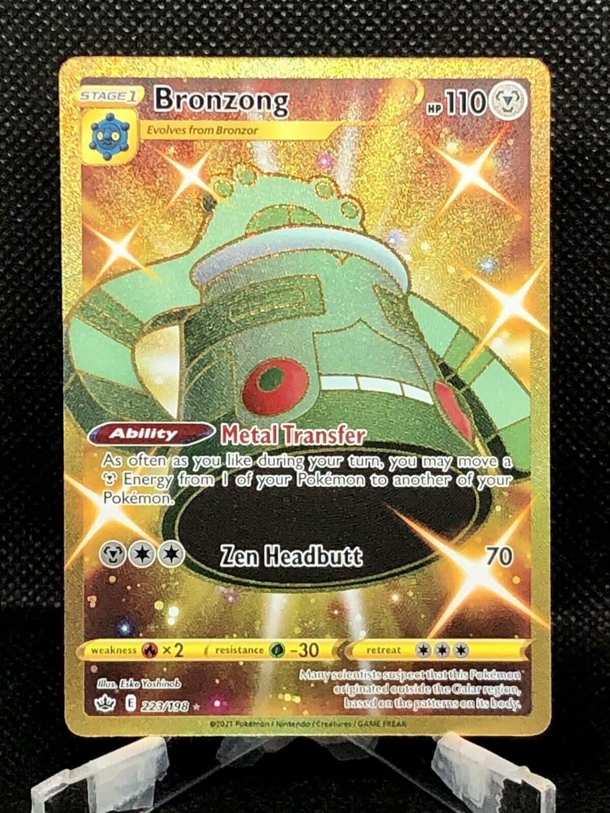 BRONZONG GOLD SECRET RARE Chilling Reign 223/198 Mint Pokemon PSA 8 Or 9!!