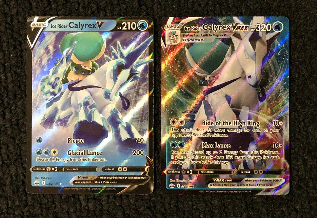 Ice Rider Calyrex Vmax 046/198 & V 045/198 Pokémon Chilling Reign Ultra Rare NM