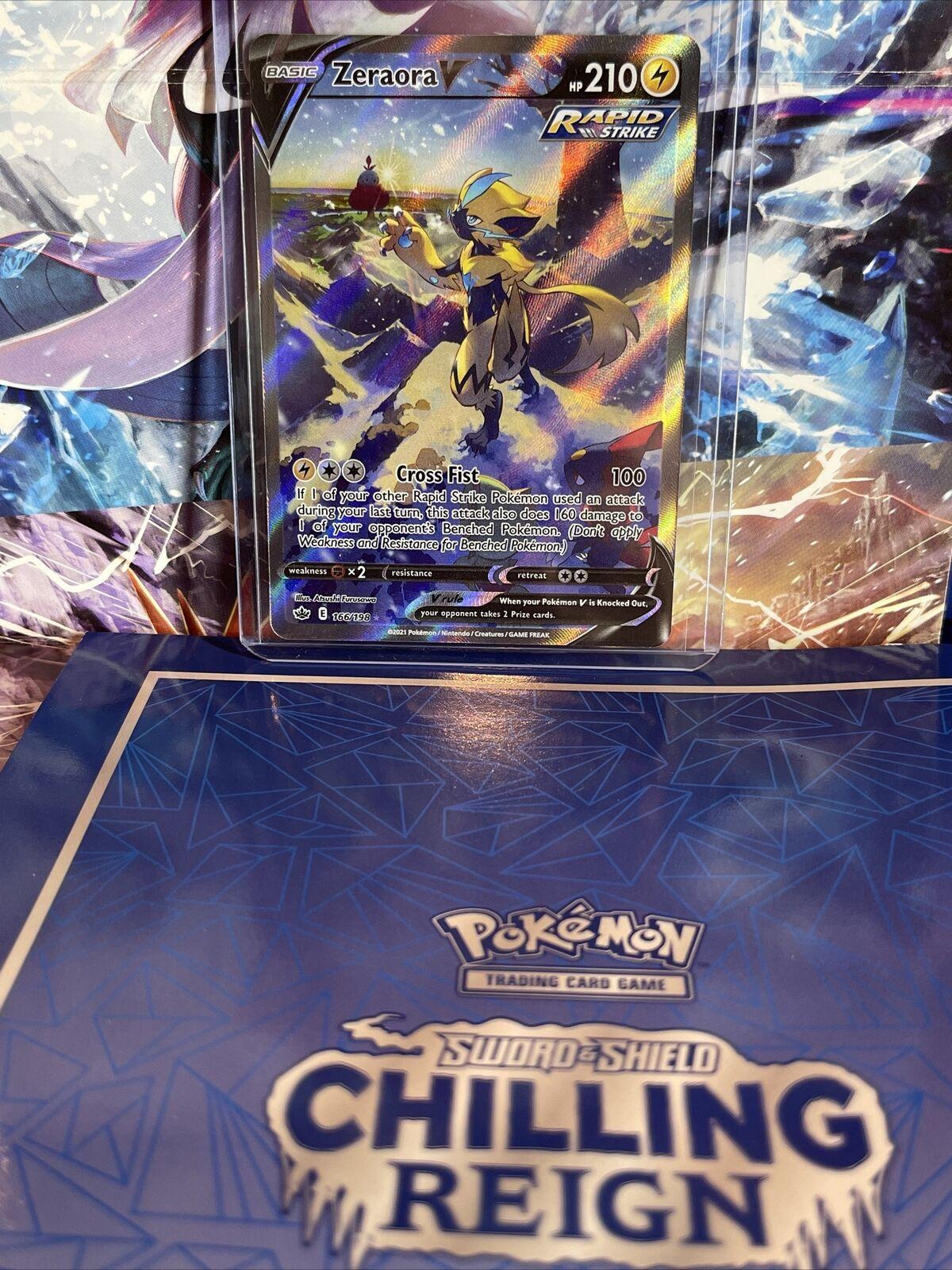 Pokemon Card - Chilling Reign - Zeraora V Alt Full Art Ultra Rare 166/198NM/M!