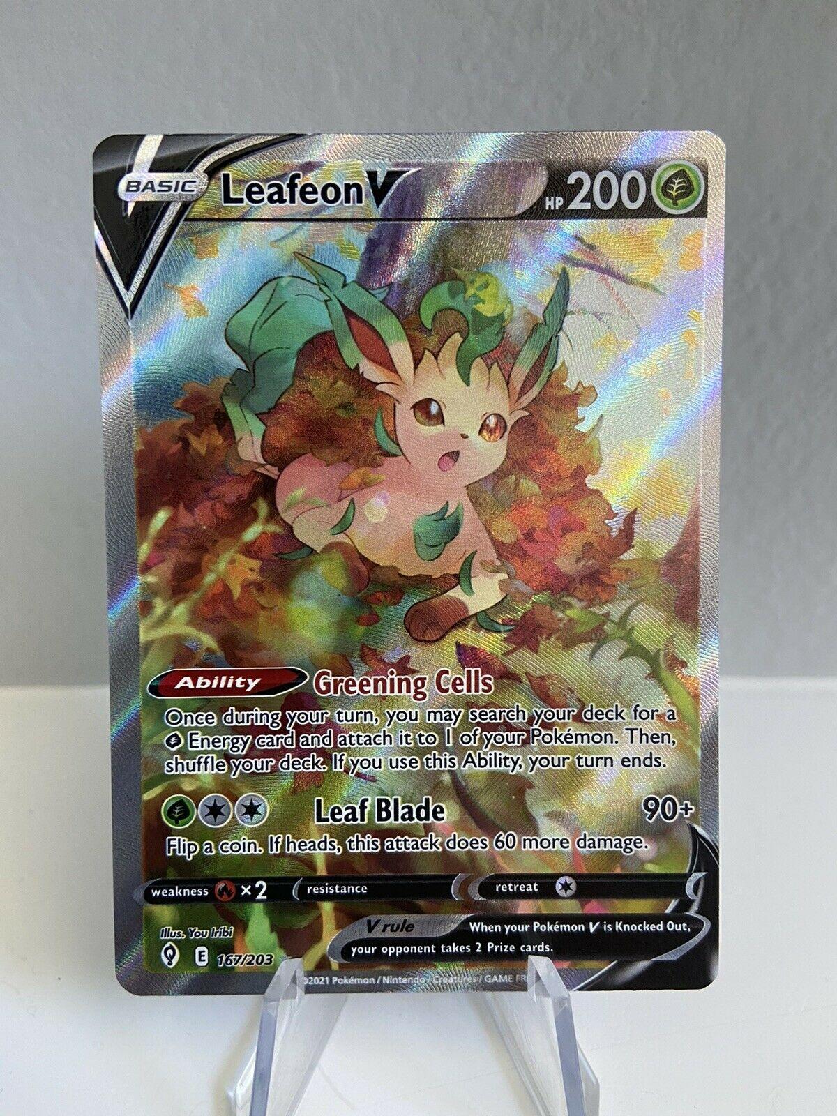 Leafeon V 167/203 Alt Art Evolving Skies Pokemon Card Mint/Near Mint