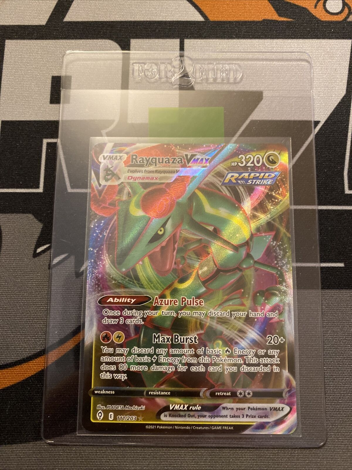 Pokemon Evolving Skies Rayquaza Vmax 111/203 In Hand Fresh Pull 1 Day Auction!!!