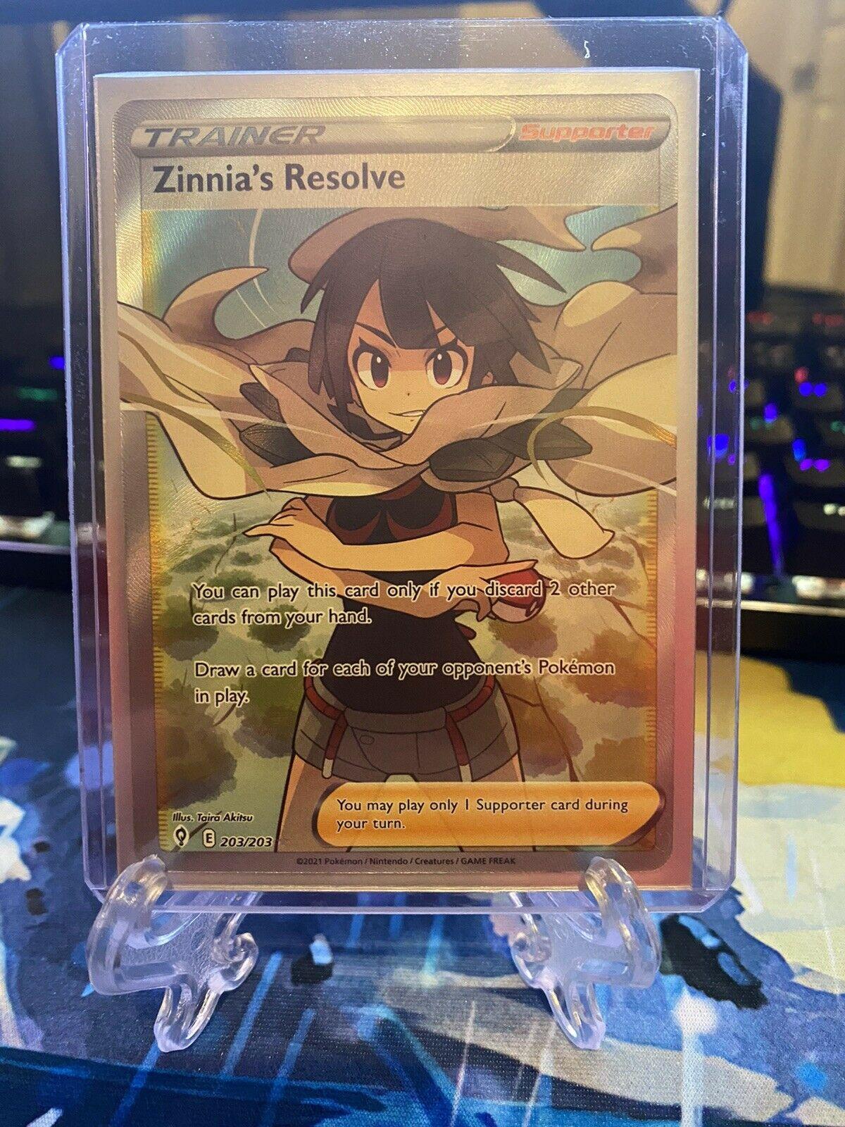 Pokemon - ZINNIA'S RESOLVE - 203/203 - FULL ART - Evolving Skies - New