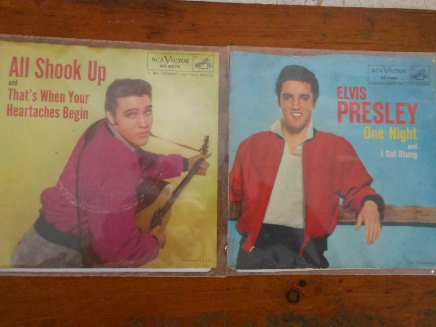 5 RECORD LOT ELVIS PRESLEY 45s W/PICTURE SLEEVES ON RCA