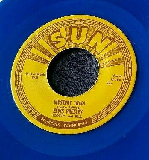Elvis Presley: Mystery Train/I Forgot to Remember... 45 Sun 223 RE blue vinyl