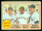 1968 TOPPS #490 SUPER STARS KILLEBREW/MAYS/MANTLE GOOD(CREASES)