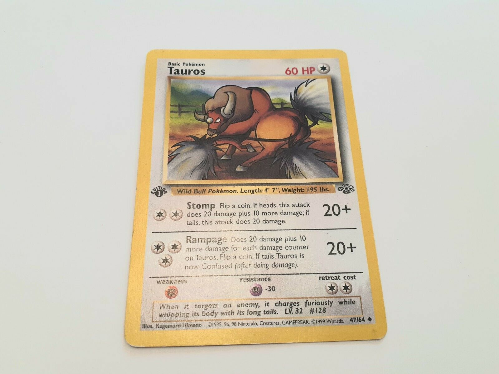 CARTE POKEMON TAUROS 47//64 JUNGLE WIZARD EXCELLENT ETAT UNCO