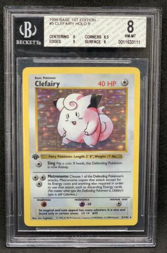 PSA 8 NM MINT Clefairy Base Set Unl Holo Pokemon 1999